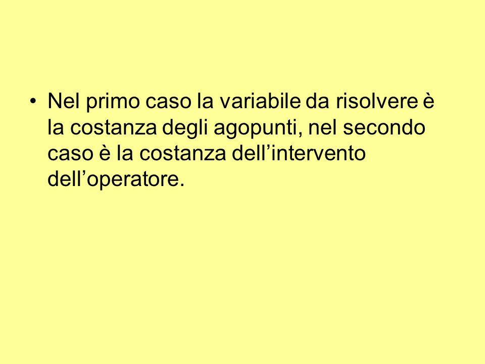 Nel primo caso la variabile da risolvere è la costanza degli agopunti, nel secondo caso è la costanza dellintervento delloperatore.