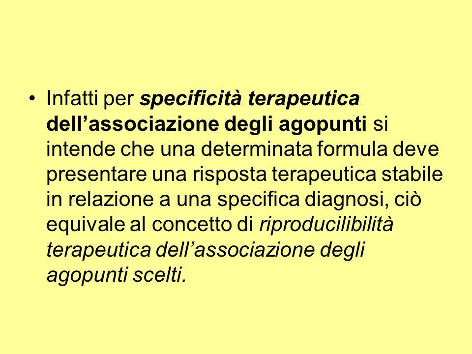 Infatti per specificità terapeutica dellassociazione degli agopunti si intende che una determinata formula deve presentare una risposta terapeutica st