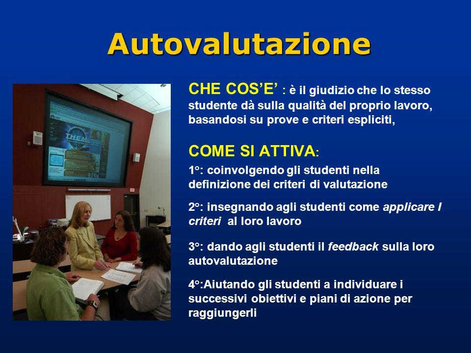 Autovalutazione CHE COSE : è il giudizio che lo stesso studente dà sulla qualità del proprio lavoro, basandosi su prove e criteri espliciti, COME SI A