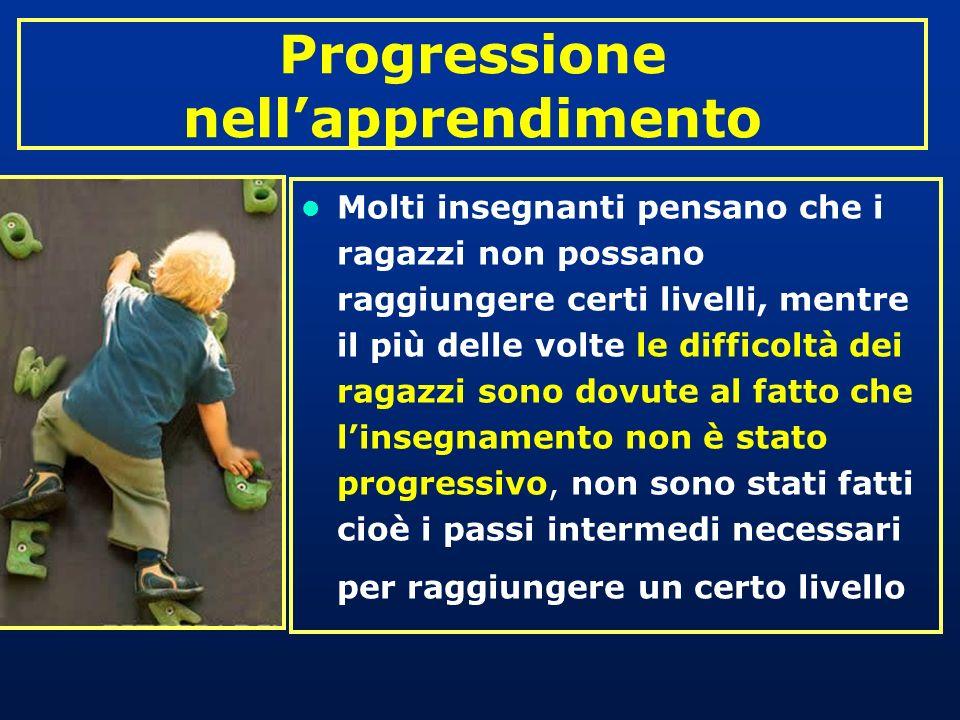 Progressione nellapprendimento Molti insegnanti pensano che i ragazzi non possano raggiungere certi livelli, mentre il più delle volte le difficoltà d