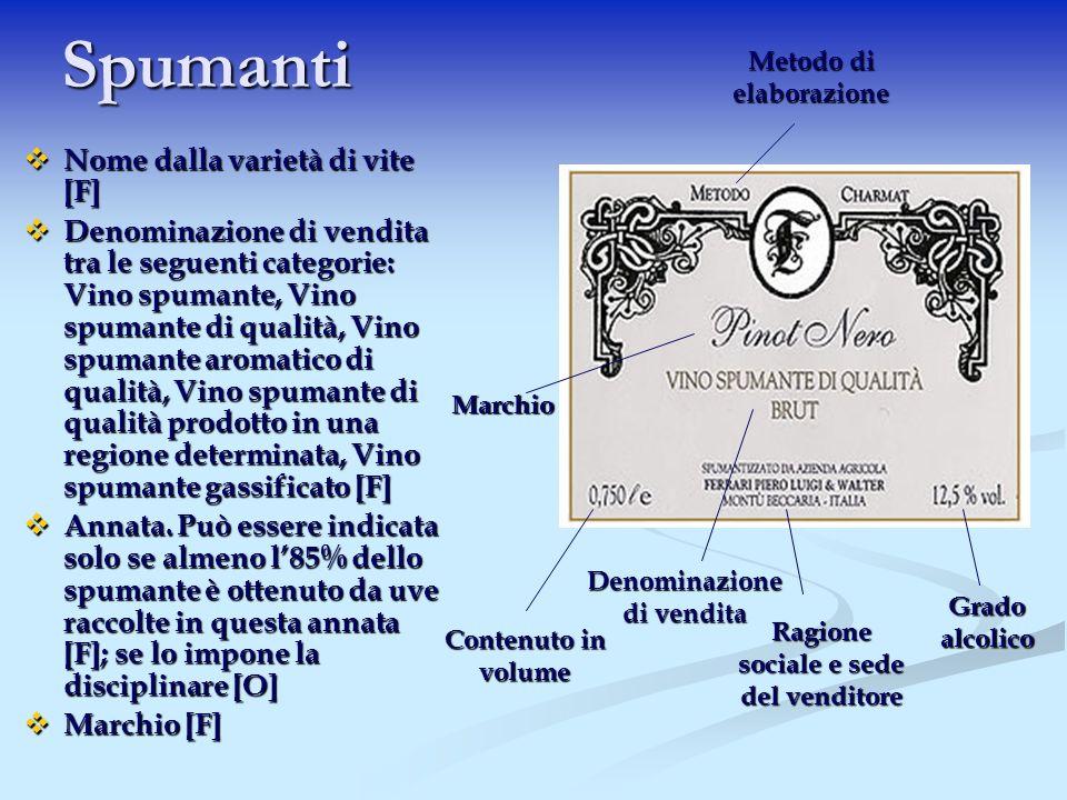 Spumanti Nome dalla varietà di vite [F] Nome dalla varietà di vite [F] Denominazione di vendita tra le seguenti categorie: Vino spumante, Vino spumant