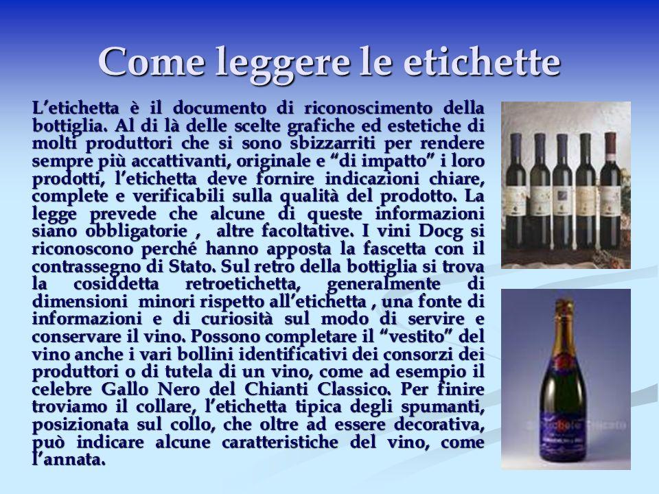 Le Informazioni dell Etichetta A parte l efficacia comunicativa e promozionale dell etichetta, il ruolo più importante e pratico per il consumatore è quello di fornire indicazioni sulla natura e le caratteristiche del vino.