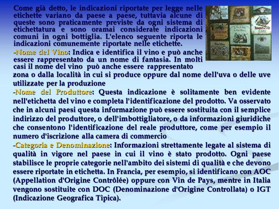 Come già detto, le indicazioni riportate per legge nelle etichette variano da paese a paese, tuttavia alcune di queste sono praticamente previste da ogni sistema di etichettatura e sono oramai considerate indicazioni comuni in ogni bottiglia.
