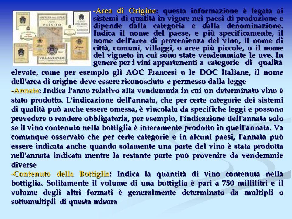 -Area di Origine: questa informazione è legata ai sistemi di qualità in vigore nei paesi di produzione e dipende dalla categoria e dalla denominazione