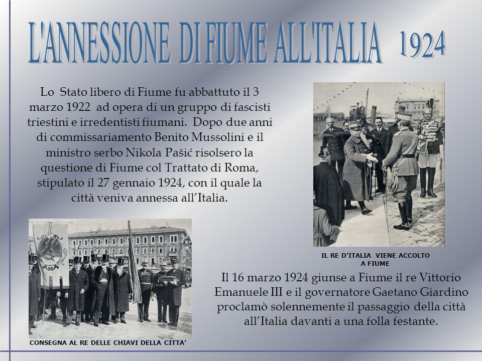 Lo Stato libero di Fiume fu abbattuto il 3 marzo 1922 ad opera di un gruppo di fascisti triestini e irredentisti fiumani.