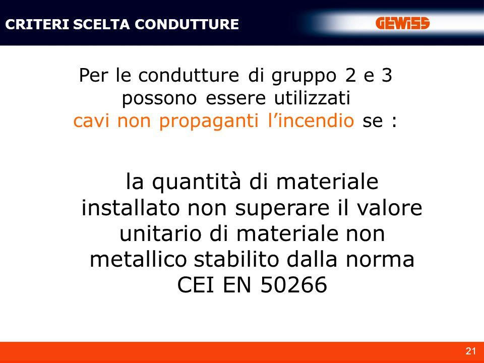 21 Per le condutture di gruppo 2 e 3 possono essere utilizzati cavi non propaganti lincendio se : la quantità di materiale installato non superare il valore unitario di materiale non metallico stabilito dalla norma CEI EN 50266 CRITERI SCELTA CONDUTTURE