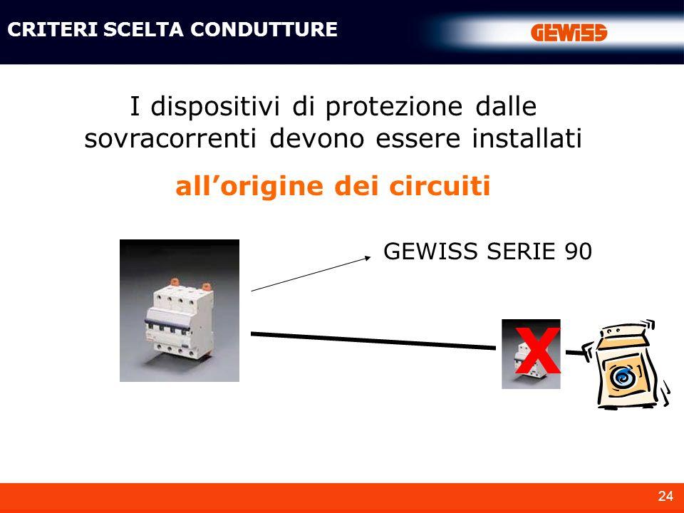 24 I dispositivi di protezione dalle sovracorrenti devono essere installati allorigine dei circuiti GEWISS SERIE 90 X CRITERI SCELTA CONDUTTURE