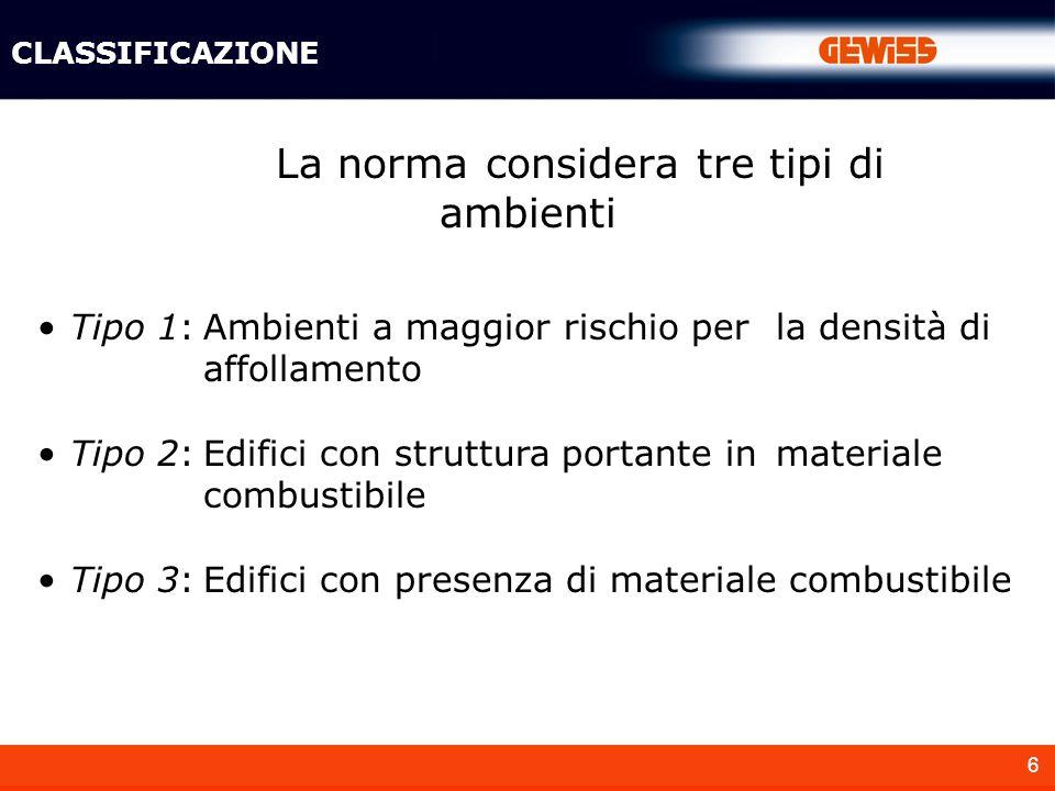 6 La norma considera tre tipi di ambienti CLASSIFICAZIONE Tipo 1:Ambienti a maggior rischio per la densità di affollamento Tipo 2:Edifici con struttura portante in materiale combustibile Tipo 3:Edifici con presenza di materiale combustibile