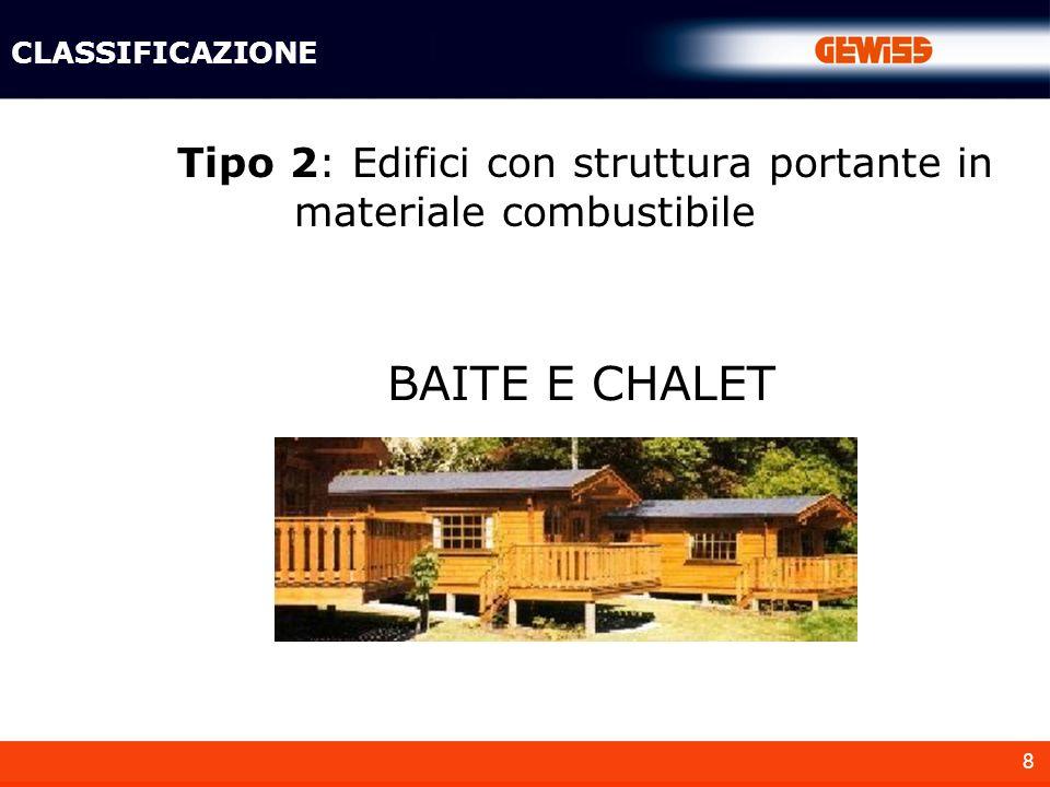 8 Tipo 2: Edifici con struttura portante in materiale combustibile BAITE E CHALET CLASSIFICAZIONE