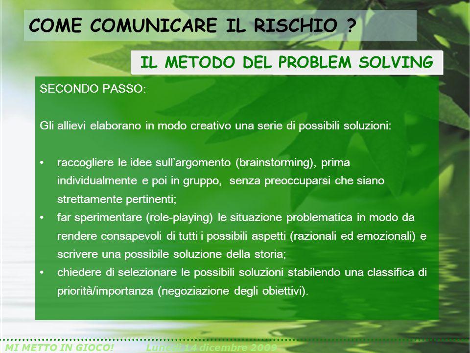 MI METTO IN GIOCO!Lunedì 14 dicembre 2009 SECONDO PASSO: Gli allievi elaborano in modo creativo una serie di possibili soluzioni: raccogliere le idee