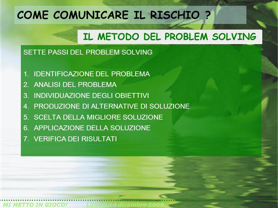 MI METTO IN GIOCO!Lunedì 14 dicembre 2009 SETTE PASSI DEL PROBLEM SOLVING 1.IDENTIFICAZIONE DEL PROBLEMA 2.ANALISI DEL PROBLEMA 3.INDIVIDUAZIONE DEGLI