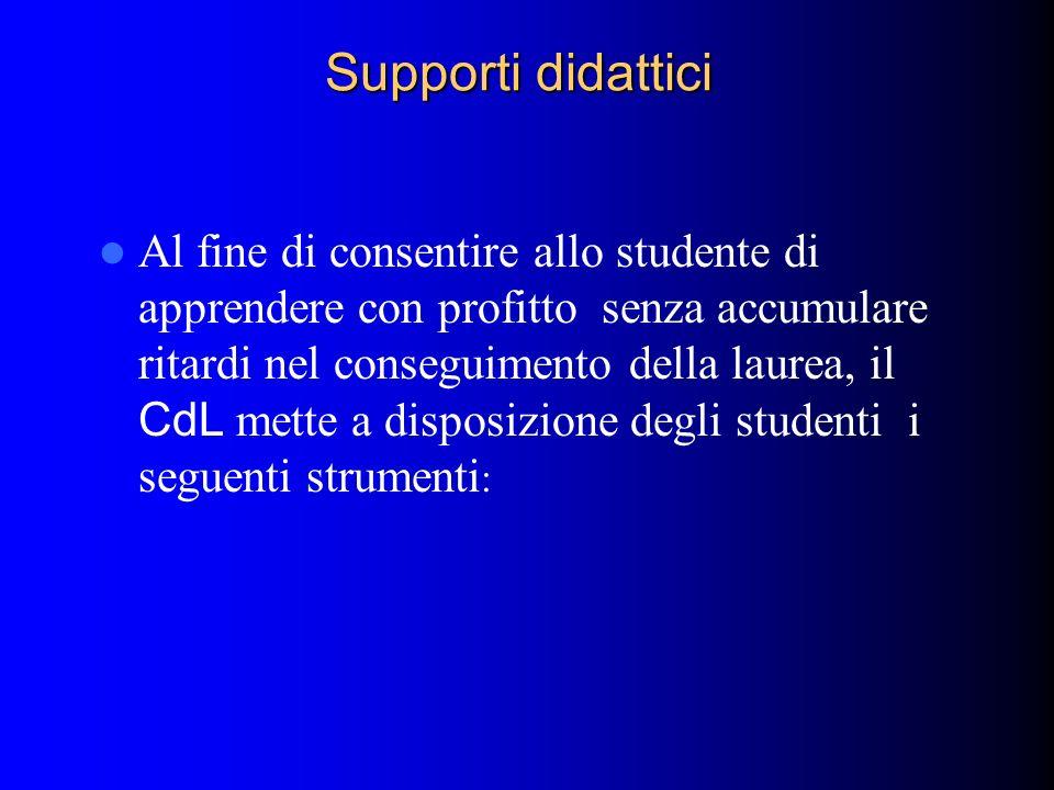Supporti didattici Al fine di consentire allo studente di apprendere con profitto senza accumulare ritardi nel conseguimento della laurea, il CdL mett