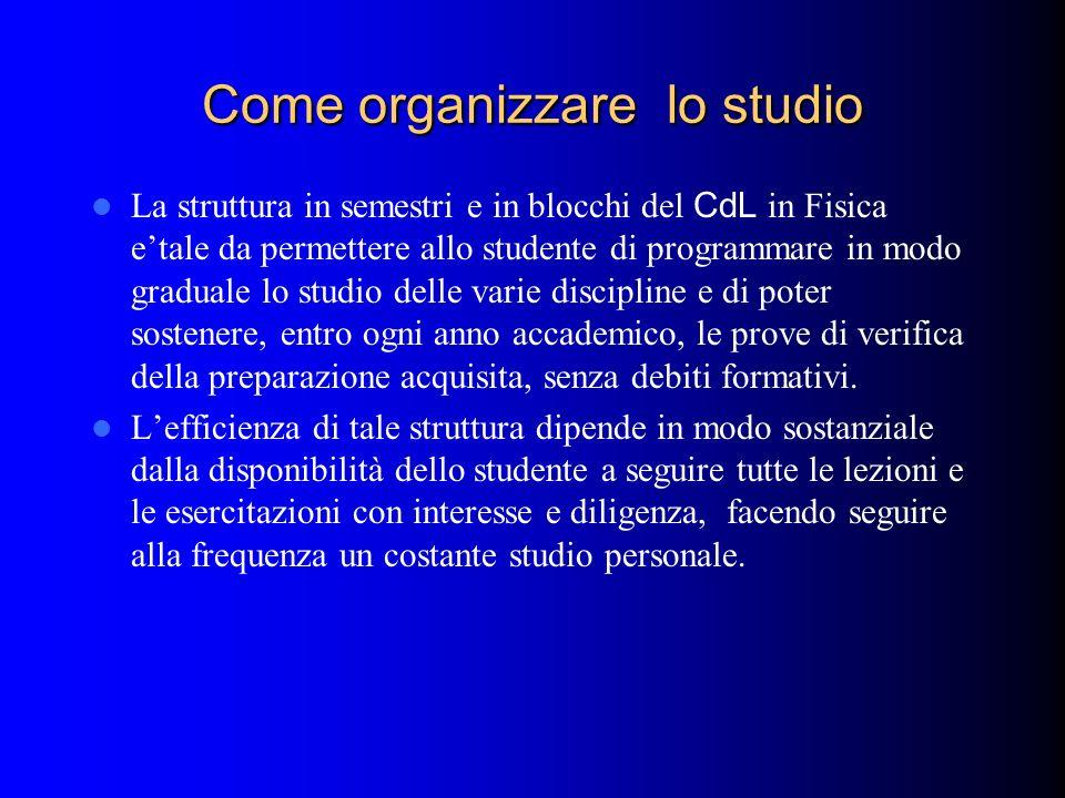 Come organizzare lo studio La struttura in semestri e in blocchi del CdL in Fisica etale da permettere allo studente di programmare in modo graduale l