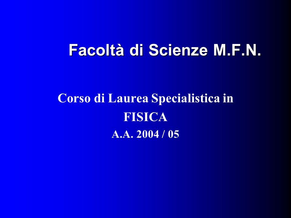 Facoltà di Scienze M.F.N. Corso di Laurea Specialistica in FISICA A.A. 2004 / 05
