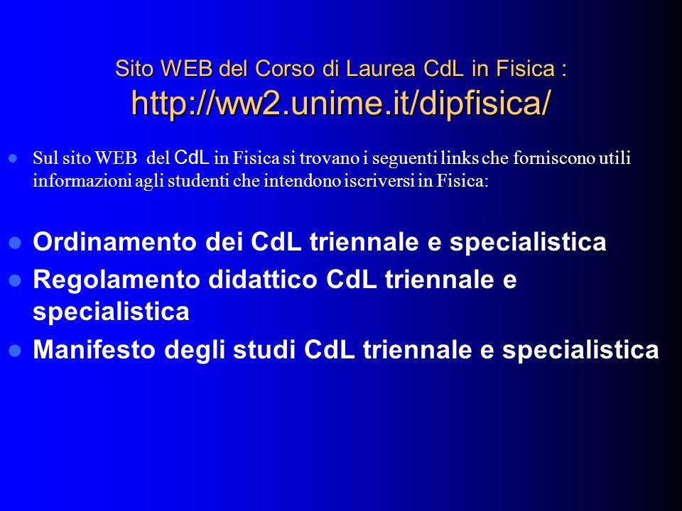 Sito WEB del Corso di Laurea CdL in Fisica : http://ww2.unime.it/dipfisica/ Sul sito WEB del CdL in Fisica si trovano i seguenti links che forniscono
