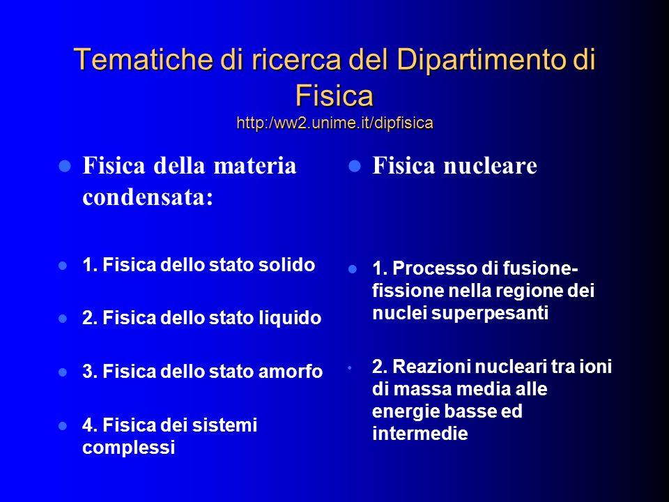 Tematiche di ricerca del Dipartimento di Fisica http:/ww2.unime.it/dipfisica Fisica della materia condensata: 1. Fisica dello stato solido 2. Fisica d