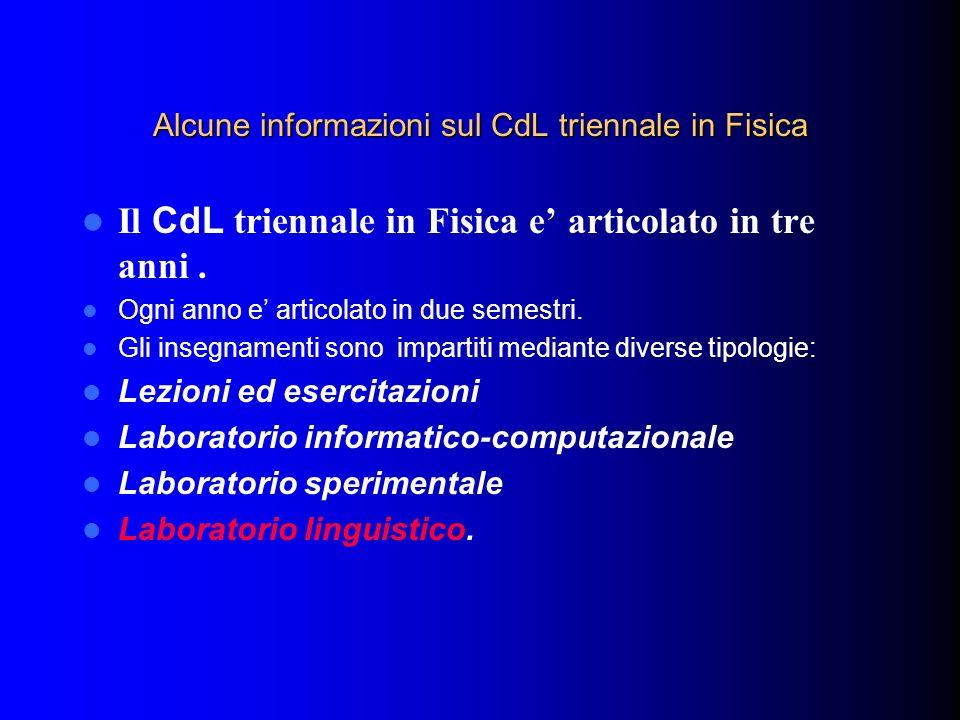 Alcune informazioni sul CdL triennale in Fisica Il CdL triennale in Fisica e articolato in tre anni. Ogni anno e articolato in due semestri. Gli inseg