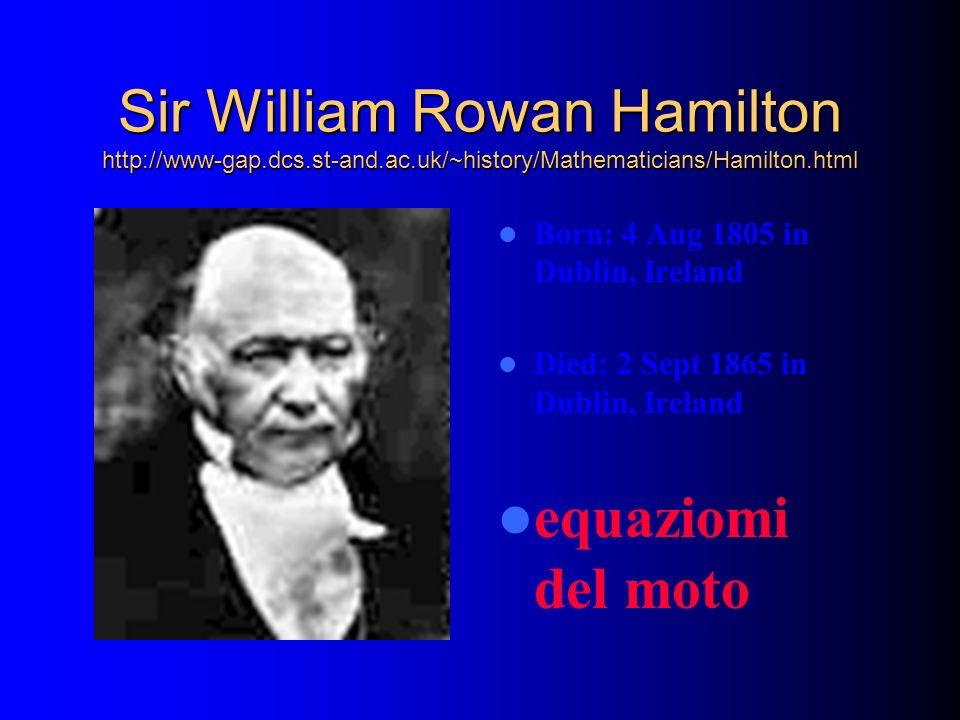 Sir William Rowan Hamilton http://www-gap.dcs.st-and.ac.uk/~history/Mathematicians/Hamilton.html Born: 4 Aug 1805 in Dublin, Ireland Died: 2 Sept 1865