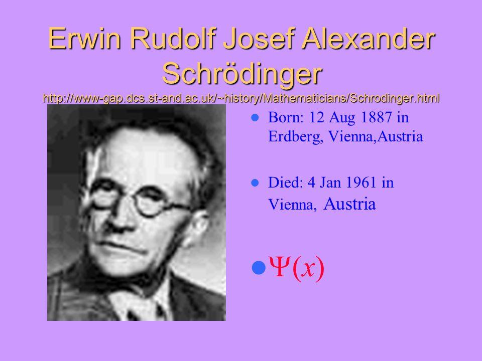 Erwin Rudolf Josef Alexander Schrödinger http://www-gap.dcs.st-and.ac.uk/~history/Mathematicians/Schrodinger.html Born: 12 Aug 1887 in Erdberg, Vienna