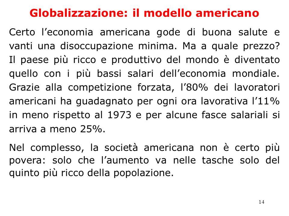 14 Globalizzazione: il modello americano Certo leconomia americana gode di buona salute e vanti una disoccupazione minima. Ma a quale prezzo? Il paese