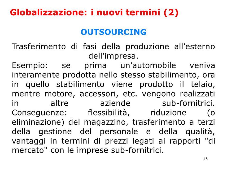 18 Globalizzazione: i nuovi termini (2) OUTSOURCING Trasferimento di fasi della produzione allesterno dellimpresa. Esempio: se prima unautomobile veni