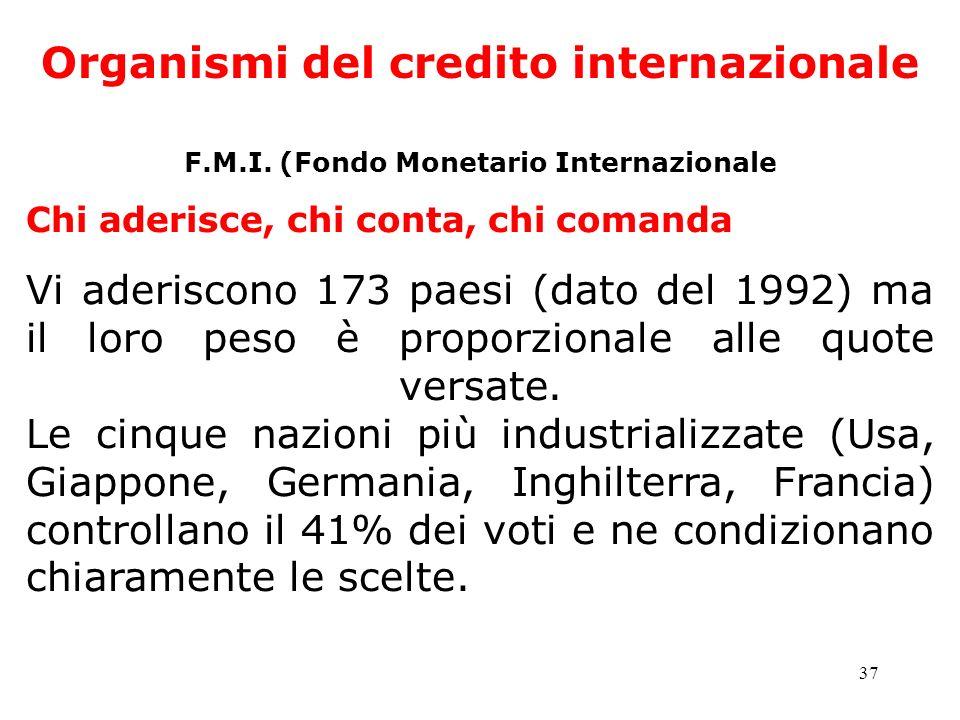 37 Organismi del credito internazionale F.M.I. (Fondo Monetario Internazionale Chi aderisce, chi conta, chi comanda Vi aderiscono 173 paesi (dato del