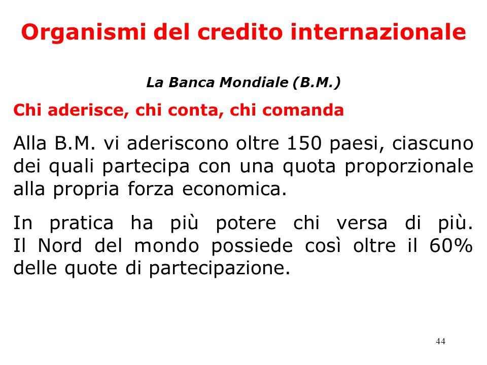 44 Organismi del credito internazionale La Banca Mondiale (B.M.) Chi aderisce, chi conta, chi comanda Alla B.M. vi aderiscono oltre 150 paesi, ciascun