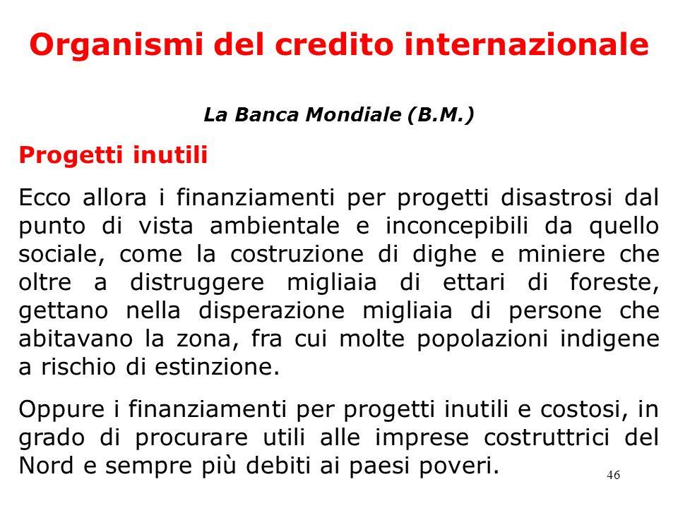 46 Organismi del credito internazionale La Banca Mondiale (B.M.) Progetti inutili Ecco allora i finanziamenti per progetti disastrosi dal punto di vis