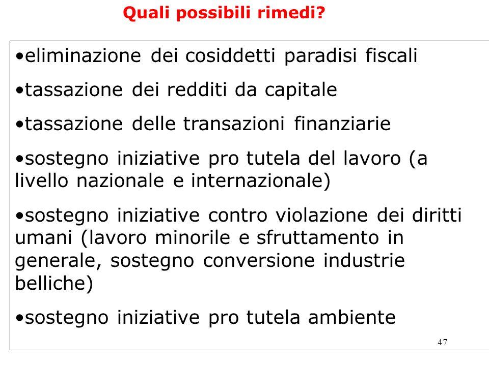 47 eliminazione dei cosiddetti paradisi fiscali tassazione dei redditi da capitale tassazione delle transazioni finanziarie sostegno iniziative pro tu