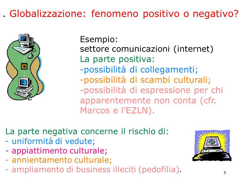 5. Globalizzazione: fenomeno positivo o negativo? Esempio: settore comunicazioni (internet) La parte positiva: -possibilità di collegamenti; -possibil