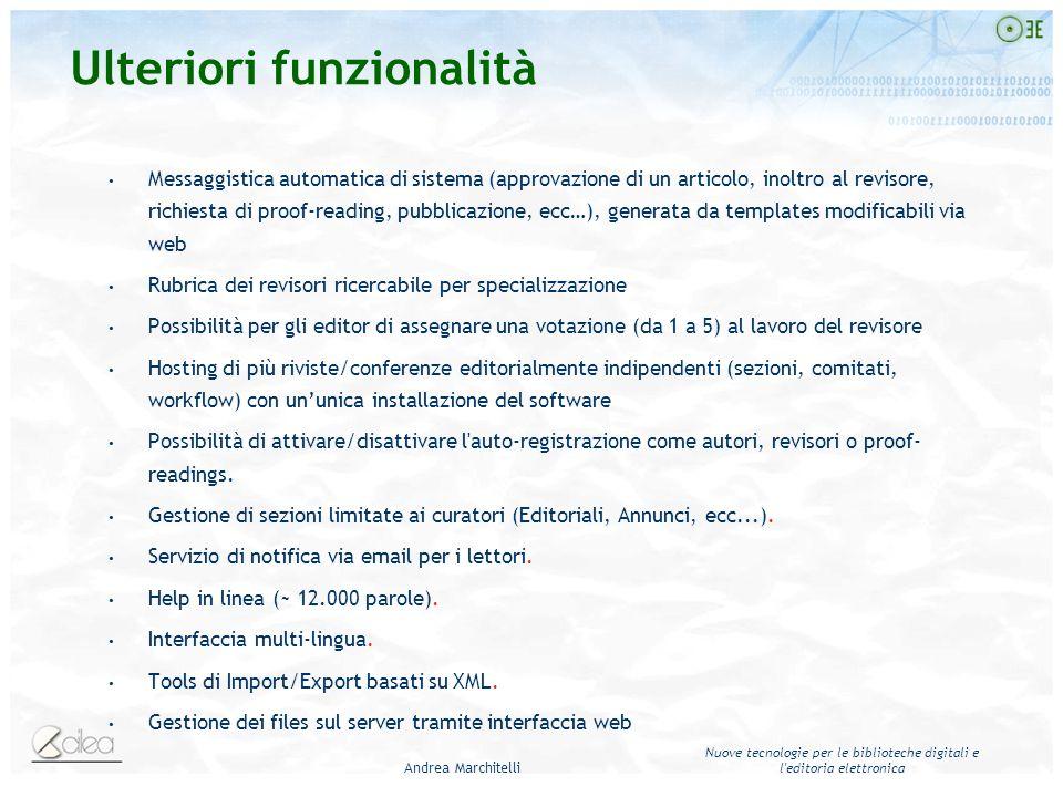 Andrea Marchitelli Nuove tecnologie per le biblioteche digitali e l'editoria elettronica Messaggistica automatica di sistema (approvazione di un artic