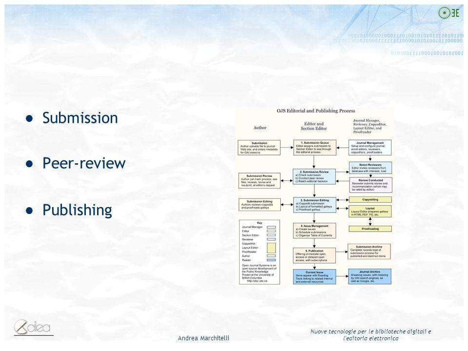 Andrea Marchitelli Nuove tecnologie per le biblioteche digitali e l'editoria elettronica Submission Peer-review Publishing