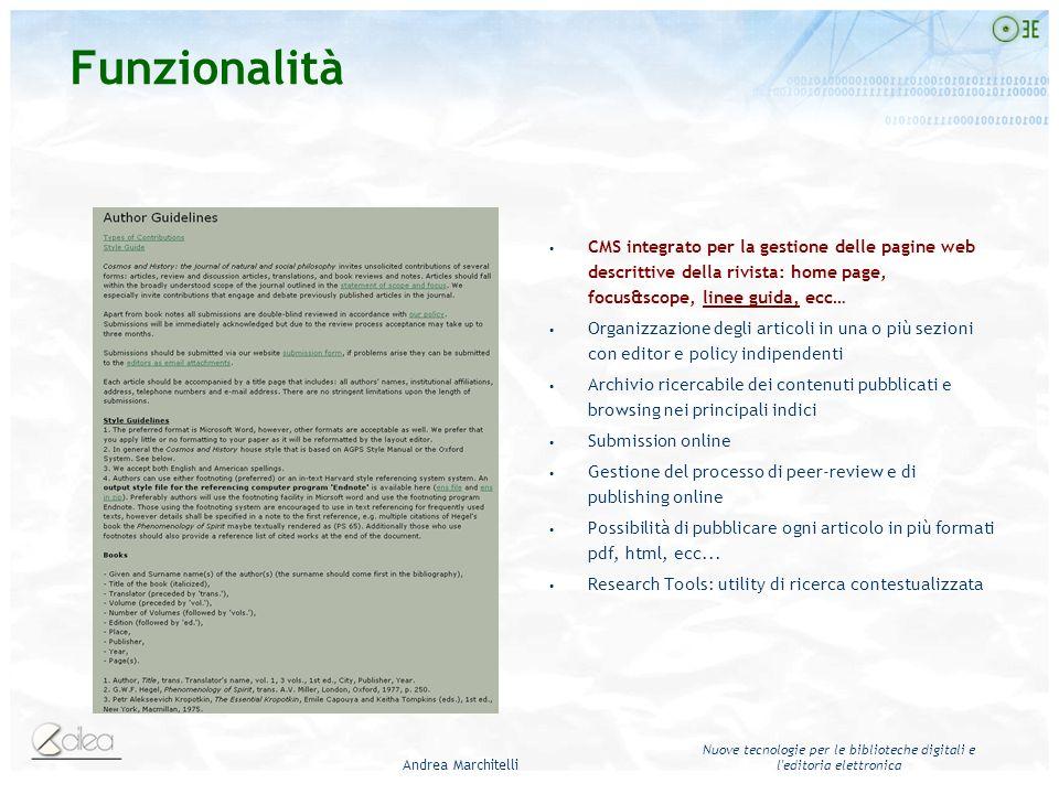 Andrea Marchitelli Nuove tecnologie per le biblioteche digitali e l'editoria elettronica CMS integrato per la gestione delle pagine web descrittive de