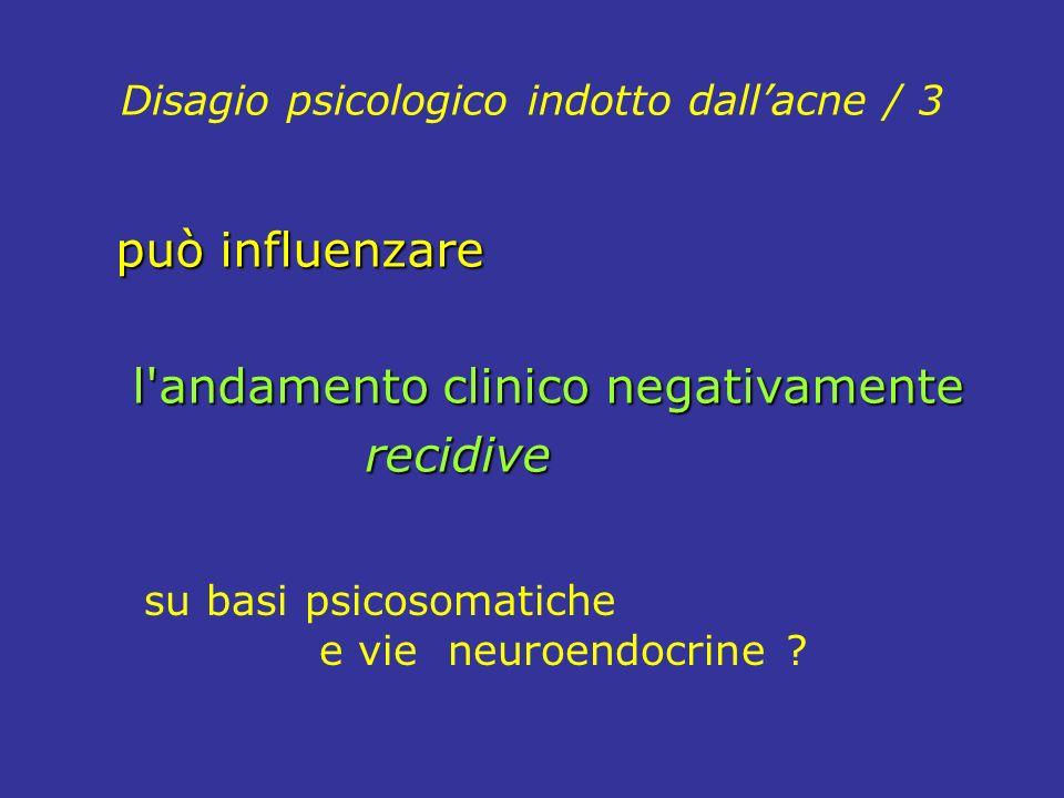 Disagio psicologico indotto dallacne / 3 può influenzare l'andamento clinico negativamente l'andamento clinico negativamente recidive recidive su basi
