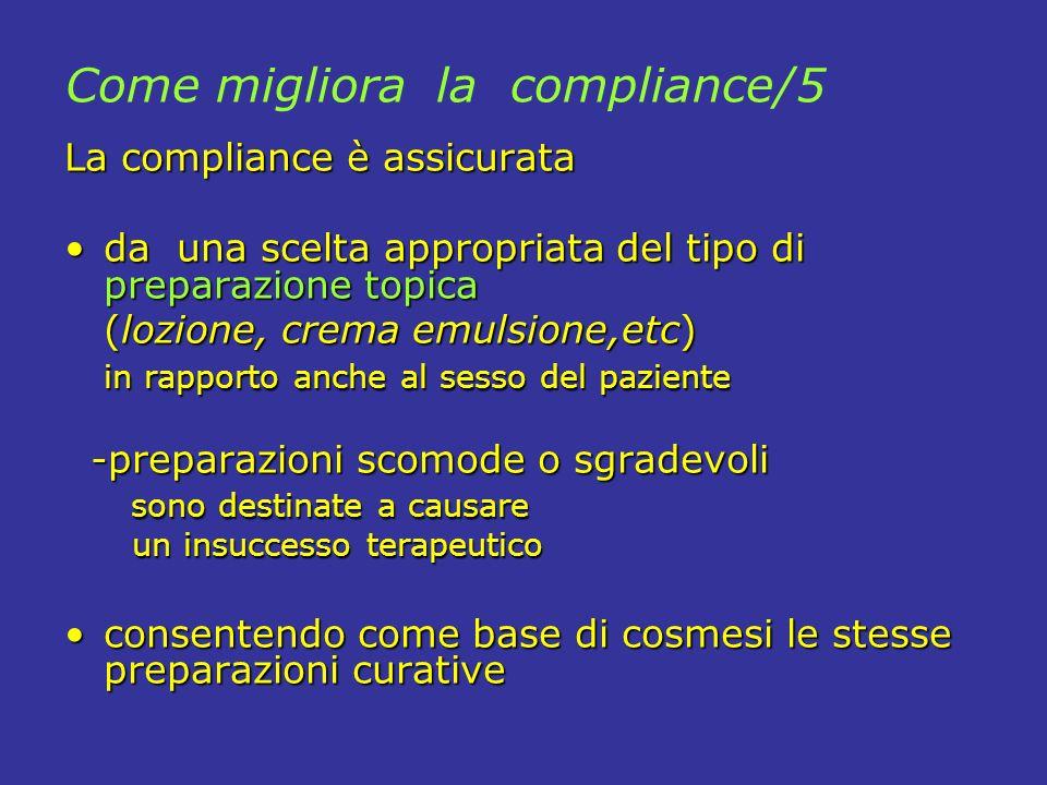 La compliance è assicurata da una scelta appropriata del tipo di preparazione topicada una scelta appropriata del tipo di preparazione topica (lozione