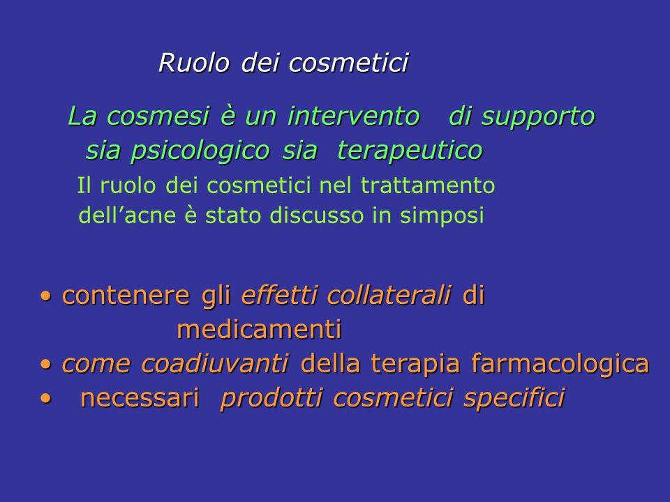 Ruolo dei cosmetici Ruolo dei cosmetici La cosmesi è un intervento di supporto La cosmesi è un intervento di supporto sia psicologico sia terapeutico