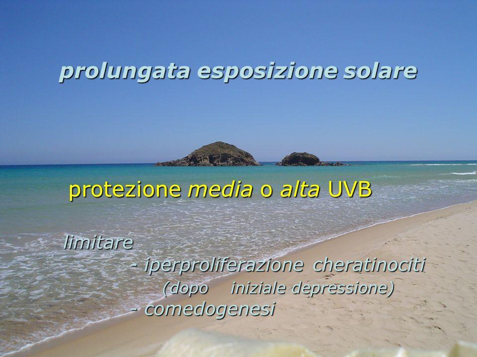 prolungata esposizione solare protezione media o alta UVB protezione media o alta UVB limitare - iperproliferazione cheratinociti - iperproliferazione