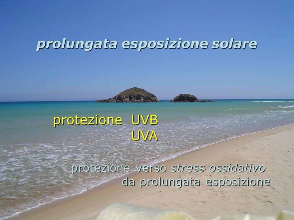 protezione UVB UVA UVA protezione verso stress ossidativo da prolungata esposizione da prolungata esposizione prolungata esposizione solare