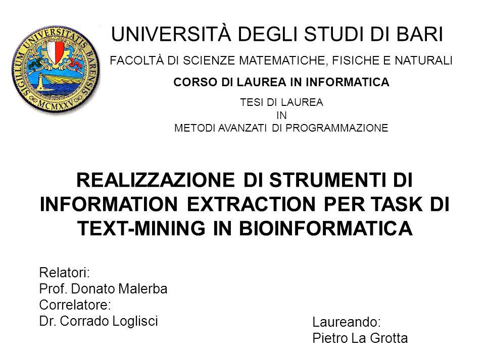 Laureando: Pietro La Grotta Laureando: Pietro La Grotta Impiego di librerie di Text Analytics (GATE) 1.