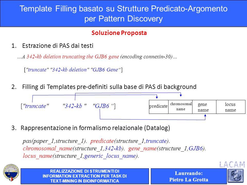 1. Estrazione di PAS dai testi 2.