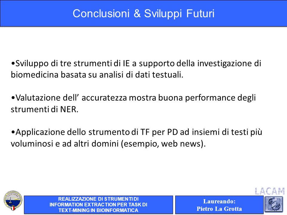Laureando: Pietro La Grotta Laureando: Pietro La Grotta Sviluppo di tre strumenti di IE a supporto della investigazione di biomedicina basata su analisi di dati testuali.