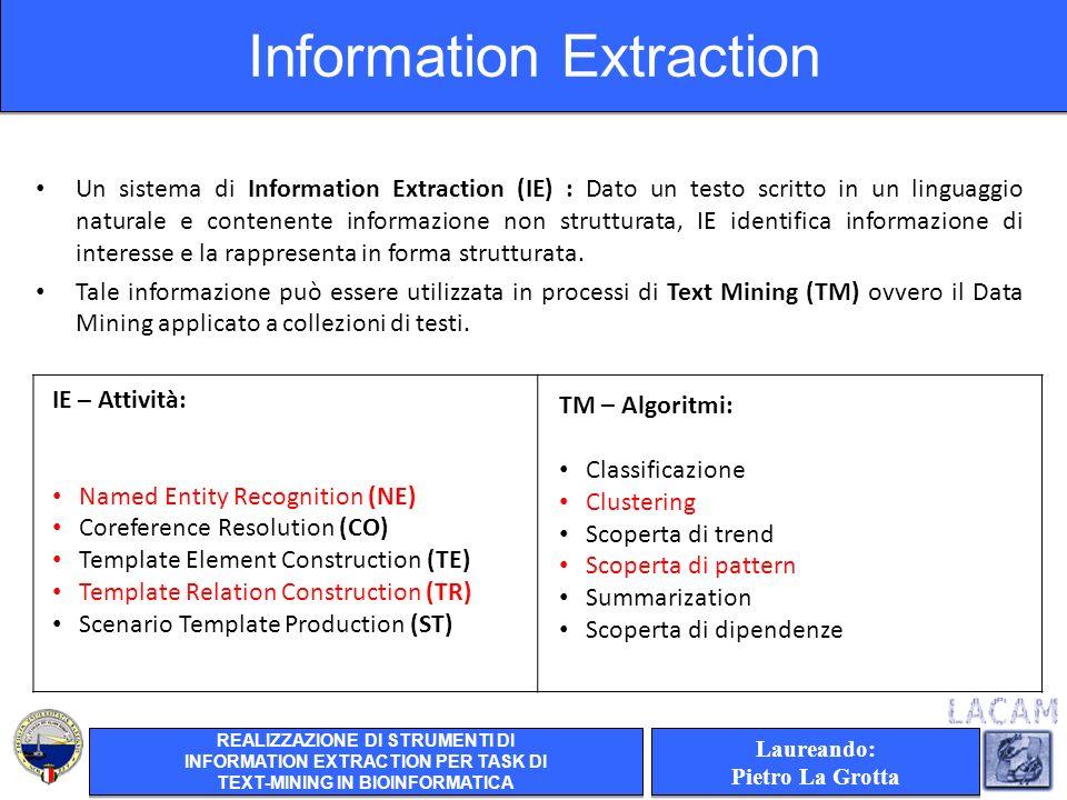 Un sistema di Information Extraction (IE) : Dato un testo scritto in un linguaggio naturale e contenente informazione non strutturata, IE identifica informazione di interesse e la rappresenta in forma strutturata.