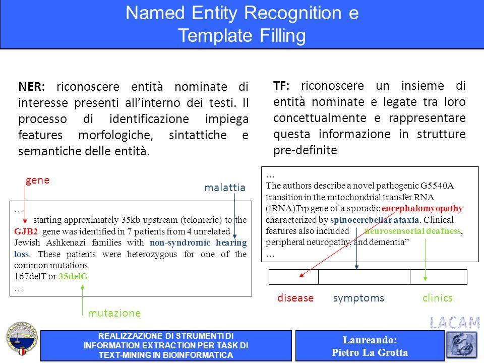 TF: riconoscere un insieme di entità nominate e legate tra loro concettualmente e rappresentare questa informazione in strutture pre-definite NER: riconoscere entità nominate di interesse presenti allinterno dei testi.