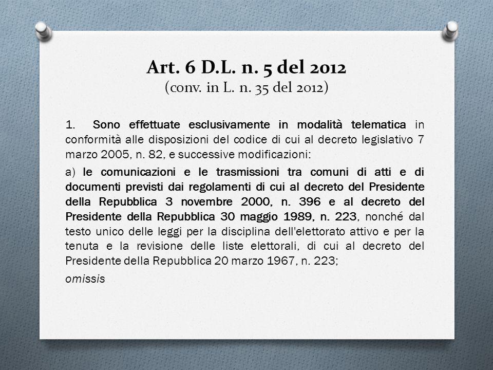 Art. 6 D.L. n. 5 del 2012 (conv. in L. n. 35 del 2012) 1. Sono effettuate esclusivamente in modalità telematica in conformità alle disposizioni del co