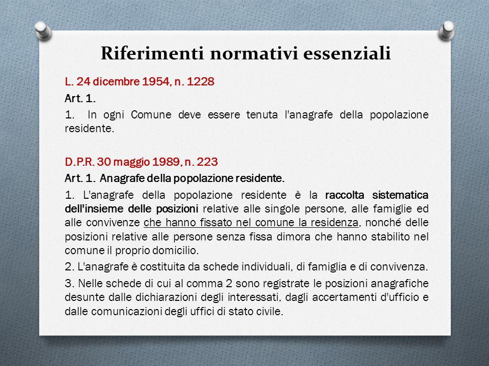 Riferimenti normativi essenziali L. 24 dicembre 1954, n. 1228 Art. 1. 1. In ogni Comune deve essere tenuta l'anagrafe della popolazione residente. D.P