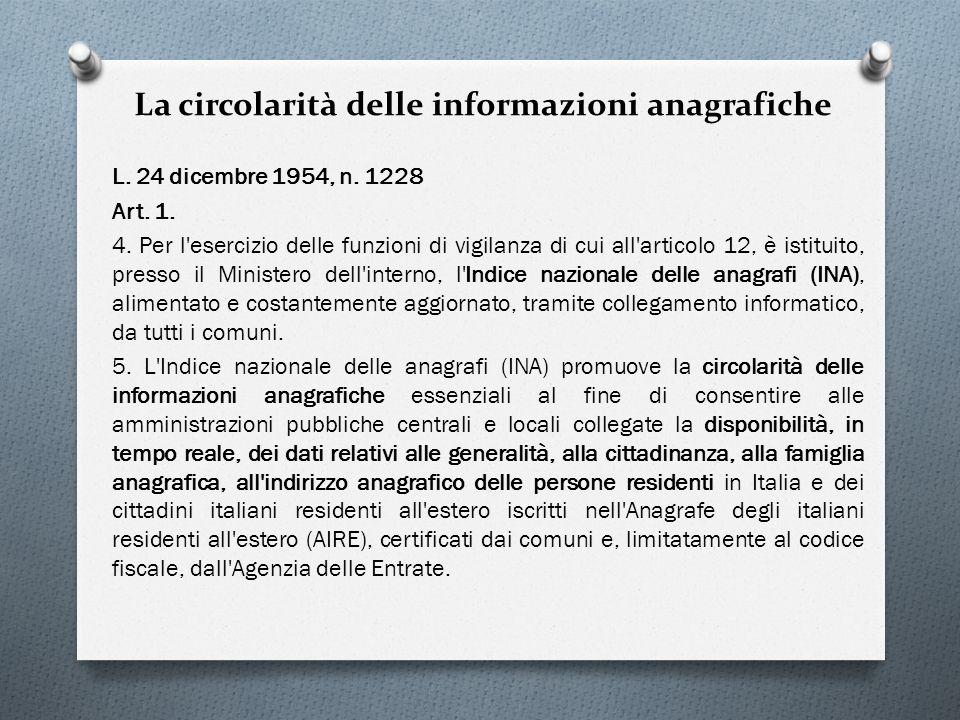 La circolarità delle informazioni anagrafiche L. 24 dicembre 1954, n. 1228 Art. 1. 4. Per l'esercizio delle funzioni di vigilanza di cui all'articolo