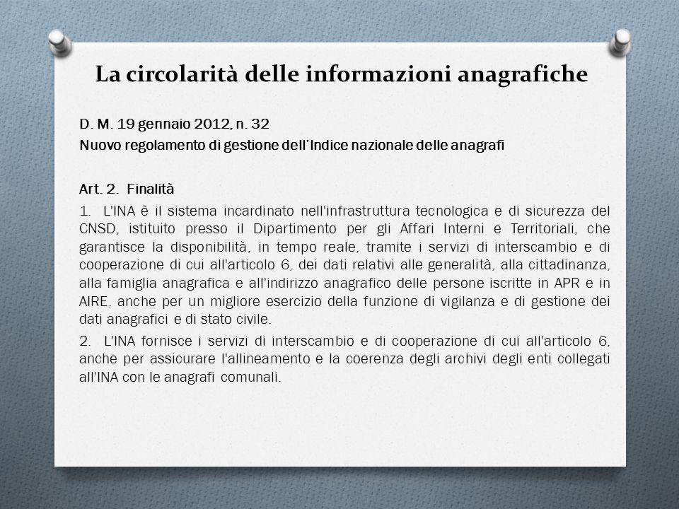 La circolarità delle informazioni anagrafiche D. M. 19 gennaio 2012, n. 32 Nuovo regolamento di gestione dellIndice nazionale delle anagrafi Art. 2. F