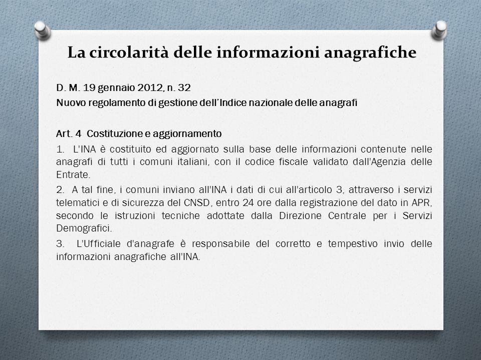 La circolarità delle informazioni anagrafiche D. M. 19 gennaio 2012, n. 32 Nuovo regolamento di gestione dellIndice nazionale delle anagrafi Art. 4 Co