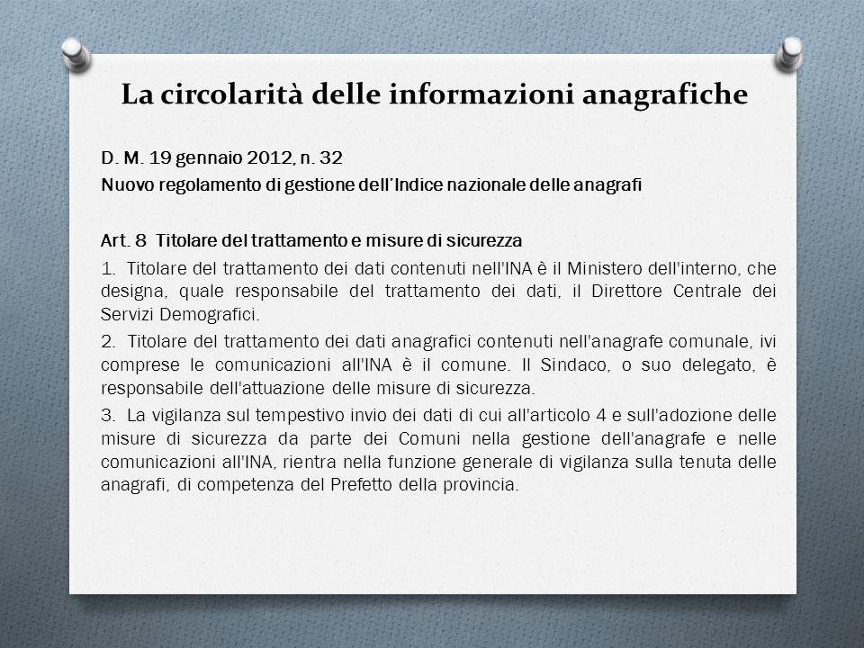 La circolarità delle informazioni anagrafiche D. M. 19 gennaio 2012, n. 32 Nuovo regolamento di gestione dellIndice nazionale delle anagrafi Art. 8 Ti