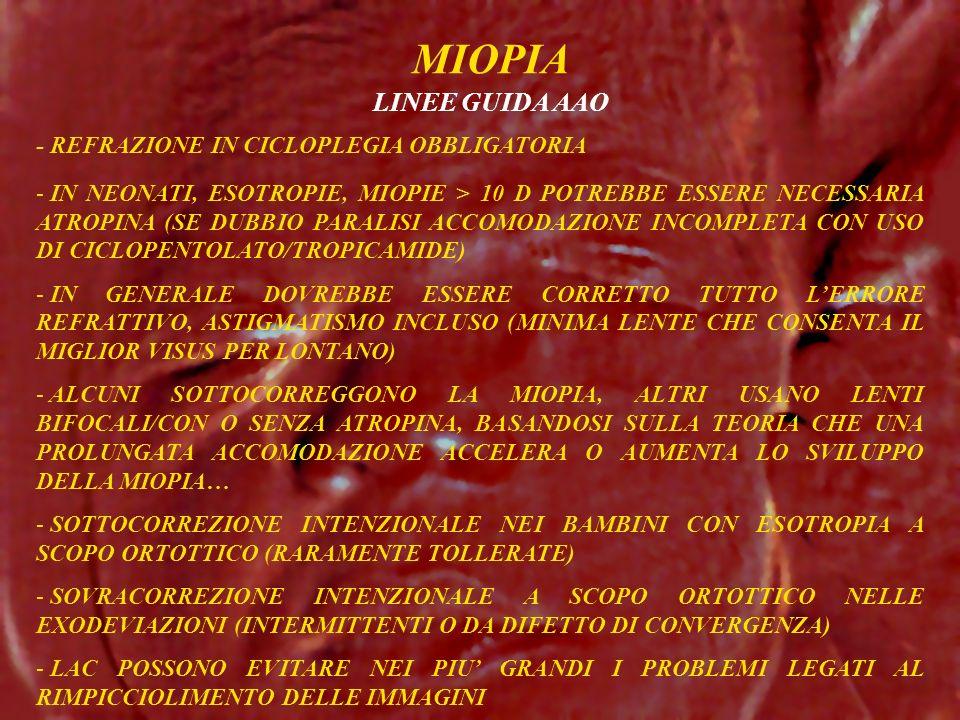 MIOPIA LINEE GUIDA AAO - REFRAZIONE IN CICLOPLEGIA OBBLIGATORIA - IN NEONATI, ESOTROPIE, MIOPIE > 10 D POTREBBE ESSERE NECESSARIA ATROPINA (SE DUBBIO